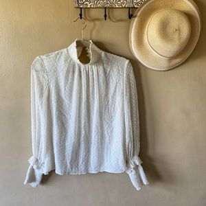Zara white button-up collared blouse